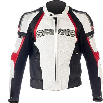 Chaqueta de piel de la moto para hombres ,Spyke Sport Top GP (48, Blanco/Negro/rojo)