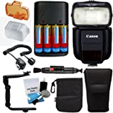 Canon Speedlite 430EX III-RT Flash for Canon DSLR Cameras with Ultimate Bundle - Includes: Flash Diffuser + Charger & 4x Rechargeable Batteries + Flash Bracket + Cleaning Pen + 5 Piece Cleaning Kit