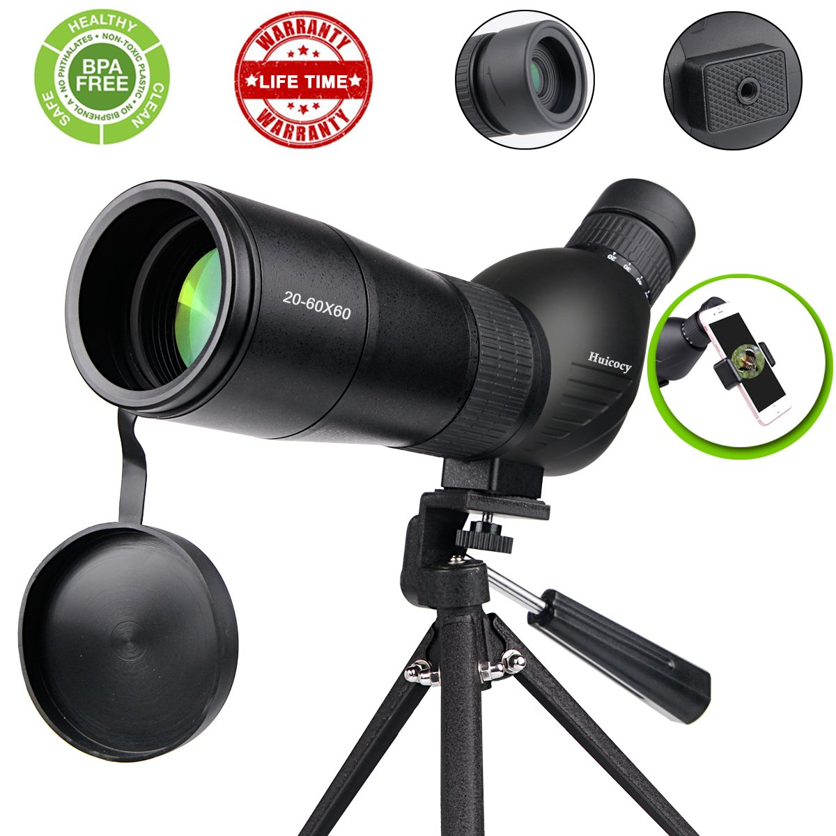 Spotting Scope,Huicocy 20-60x60mm Zoom 39-19m/1000m Fully Multi Coated Optical Lens Fogproof and Movably Eyepiece Rubber Design Telescope with Quick Smartphone Mount Kit and Tabletop Tripod for Target by HUICOCY