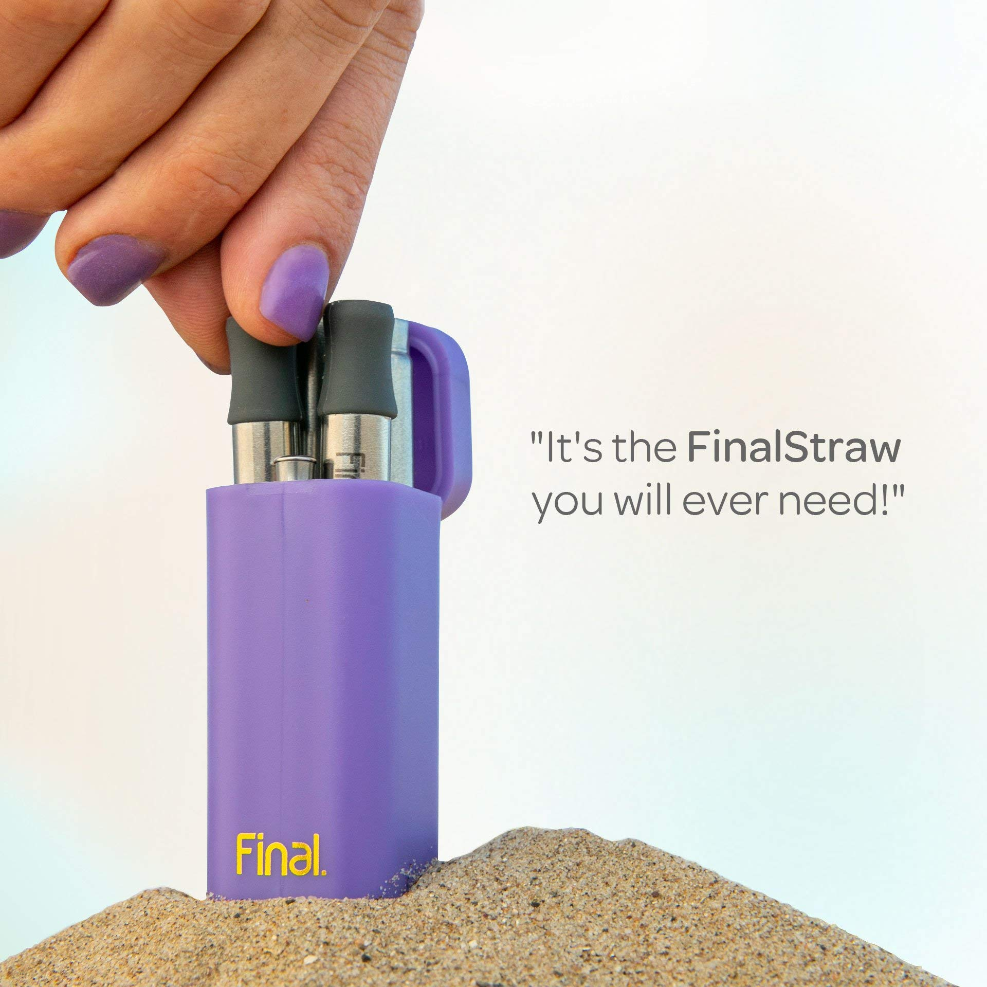 FinalStraw 2.0 - ORIGINAL - PATENTED - Real Simple, Shark Tank, Kickstarter, collapsible, stainless steel and reusable drinking straw with case (Porpoise-Ful Purple) by Final Straw