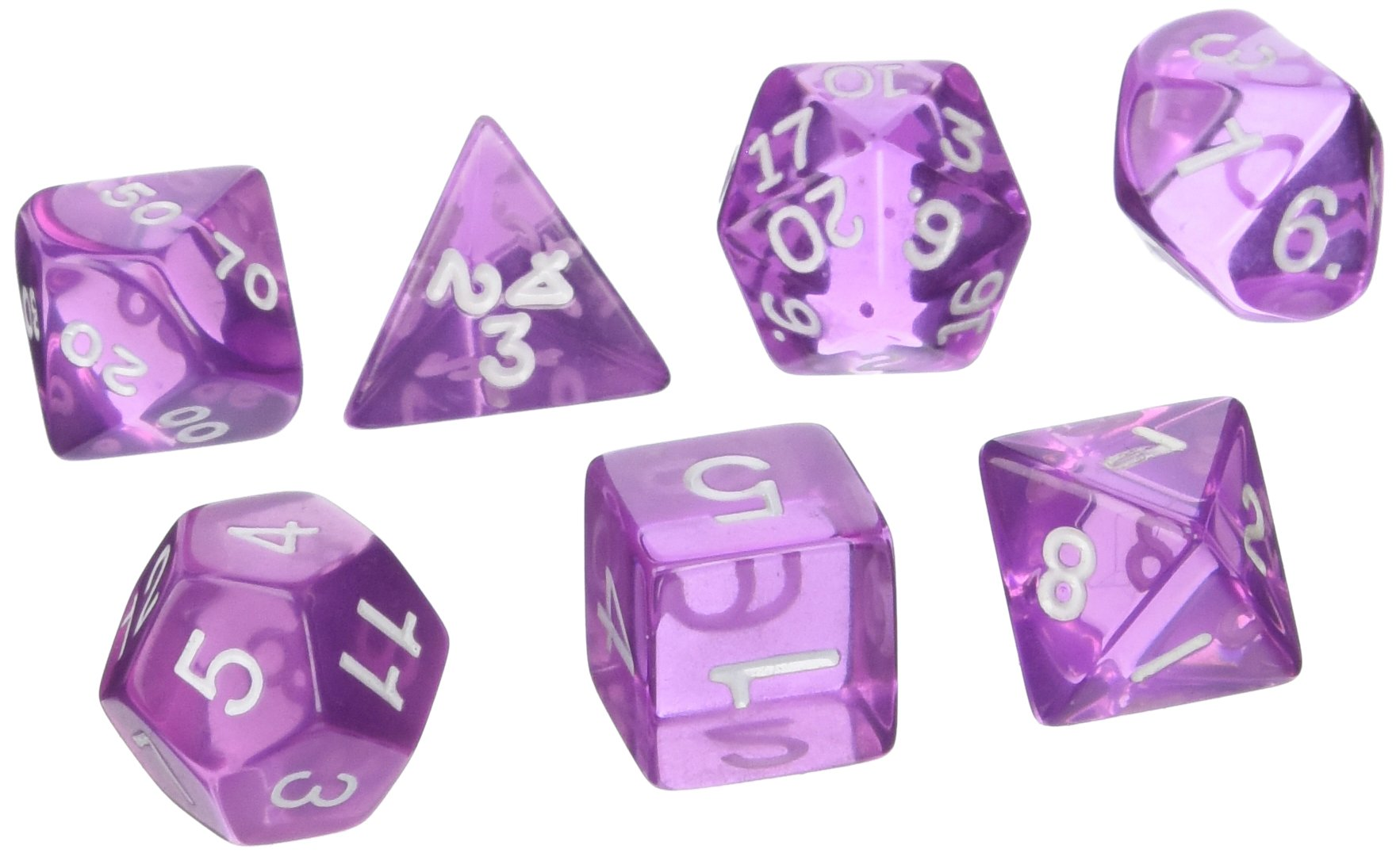 Koplow Games Polyhedral Dice Set (7-Piece), Transparent Orchid/White