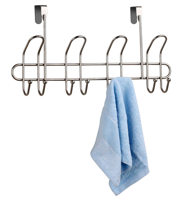 Home Basics Overdoor Hooks, Satin Nickel, 8 Count