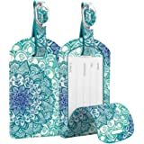 2 Pack Luggage Tags, Fintie PU Leather Name ID Labels with Privacy Cover for Travel Bag Suitcase (Emerald Illusions)