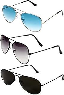 854c01eff9e3d Y S Aviator Unisex Combo Of Sunglasses(Blackblack-Halfblack-Silverblue)