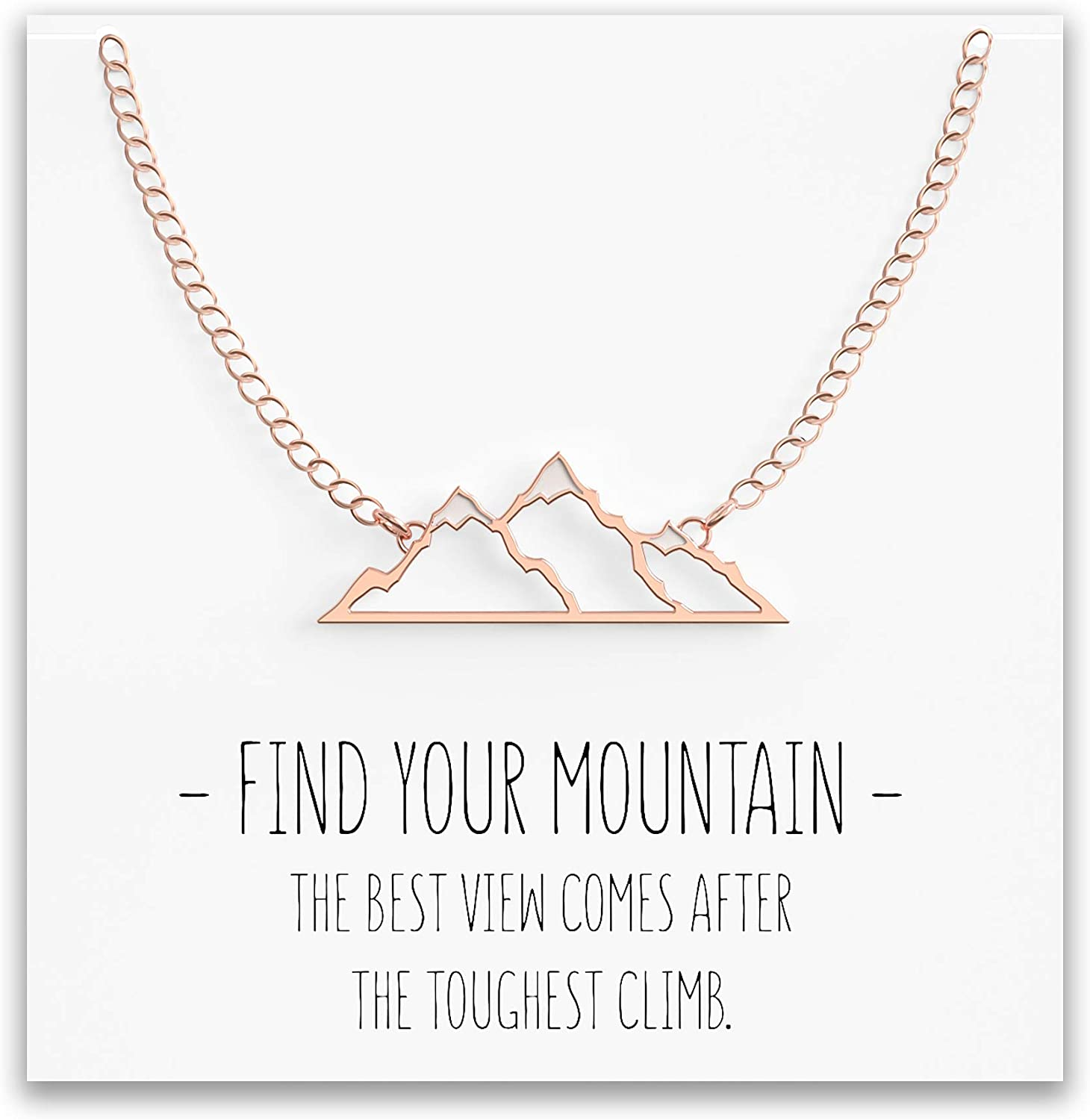 Happy Kisses Mountain Necklace for Women with Snow Top – Pendant Gift for Skiers, Hikers, Campers, Climbers and Nature Lovers – Silver, Rose Gold & Gold