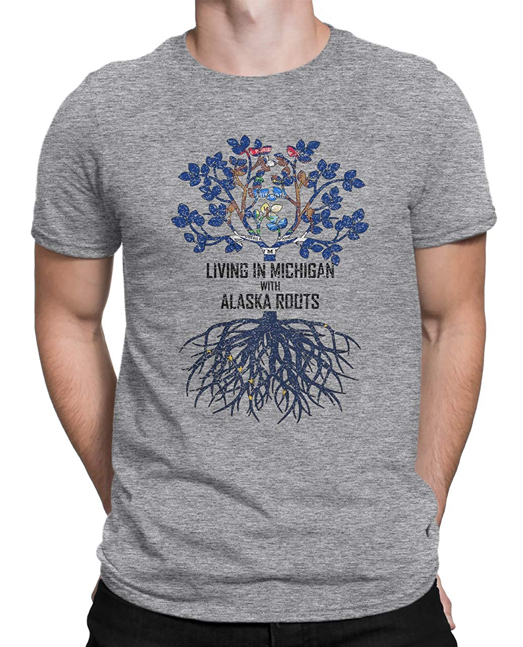 Tenacitee Mens Living in Michigan Alaska Roots T-Shirt