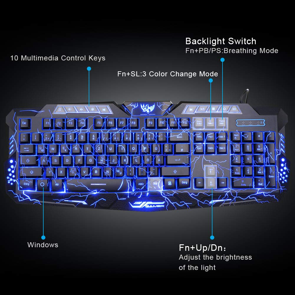 3ad7fa762b5 Amazon.com: Gaming Keyboard, BlueFinger Mechanical Computer Keyboard USB  Wired LED 3 Color Red/Blue/Purple Backlit Gamer lighted Keyboard with  Customized ...