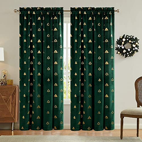 jinchan Green Curtains Velvet Drapes Tree-Shaped Bronzing Pattern On It Bedroom Window Curtains 84 Inch Long Living Room Rod Pocket Window Treatment Set 2 Panels Green, Tree, 84