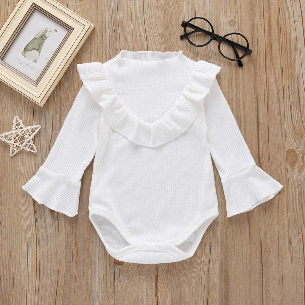 KINGWani Baby Girls Solid Romper Infant Long Sleeve Frill Bodysuit Newborn Clothes