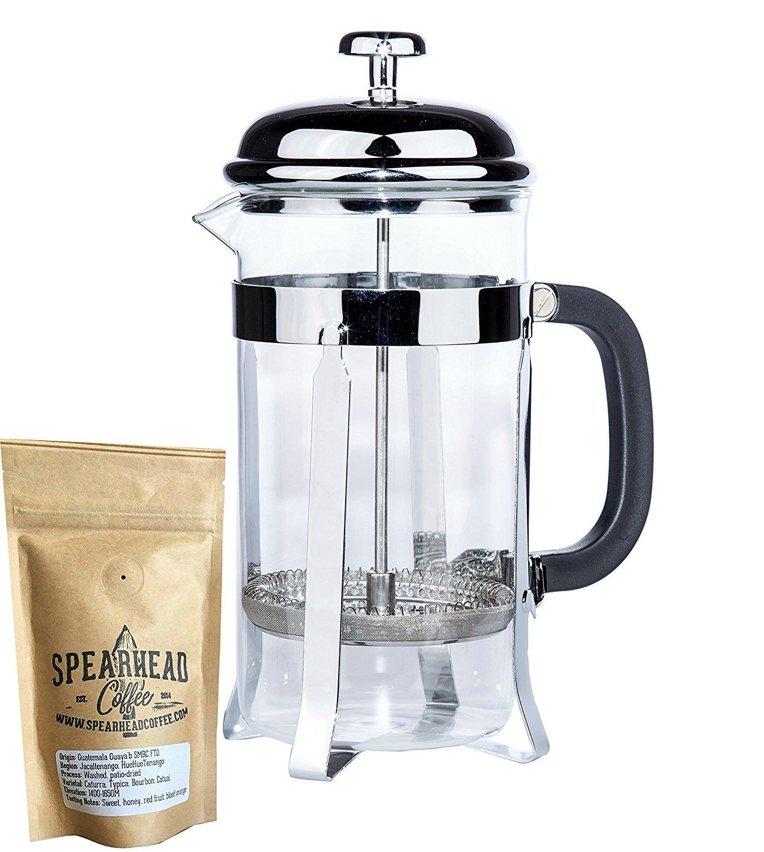 Nessential Coffee - Cafetera eléctrica de prensa francesa para una taza o tarro completo, incluye granos de café orgánico de Spreadhead Coffe y filtros ...