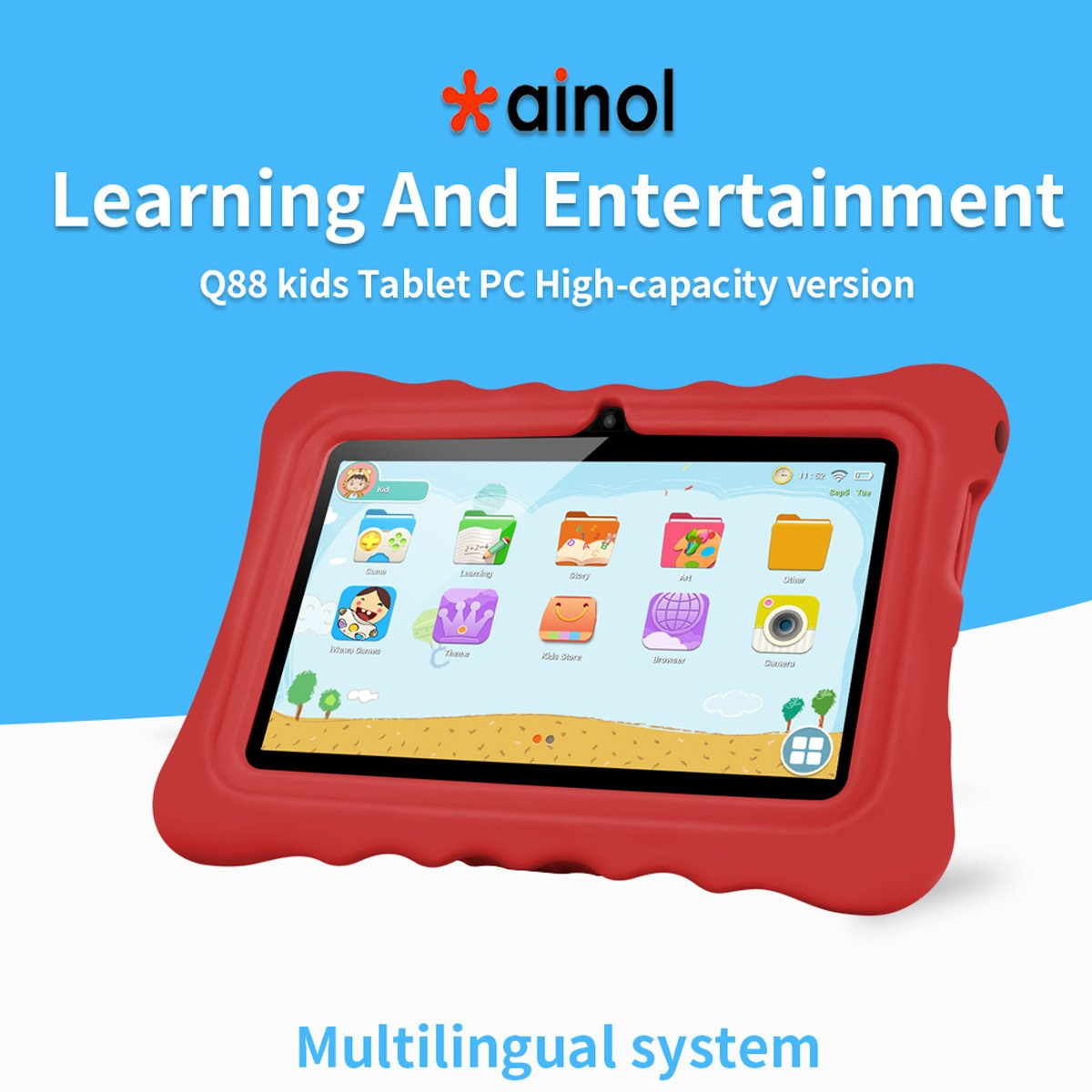 Ainol Q88 Android 7.1 RK3126C Quad Core 1GB+16GB 0.3MP+0.3MP Cam WIFI 2800Ah Tablet PC--Red by Ainol Q88 (Image #7)