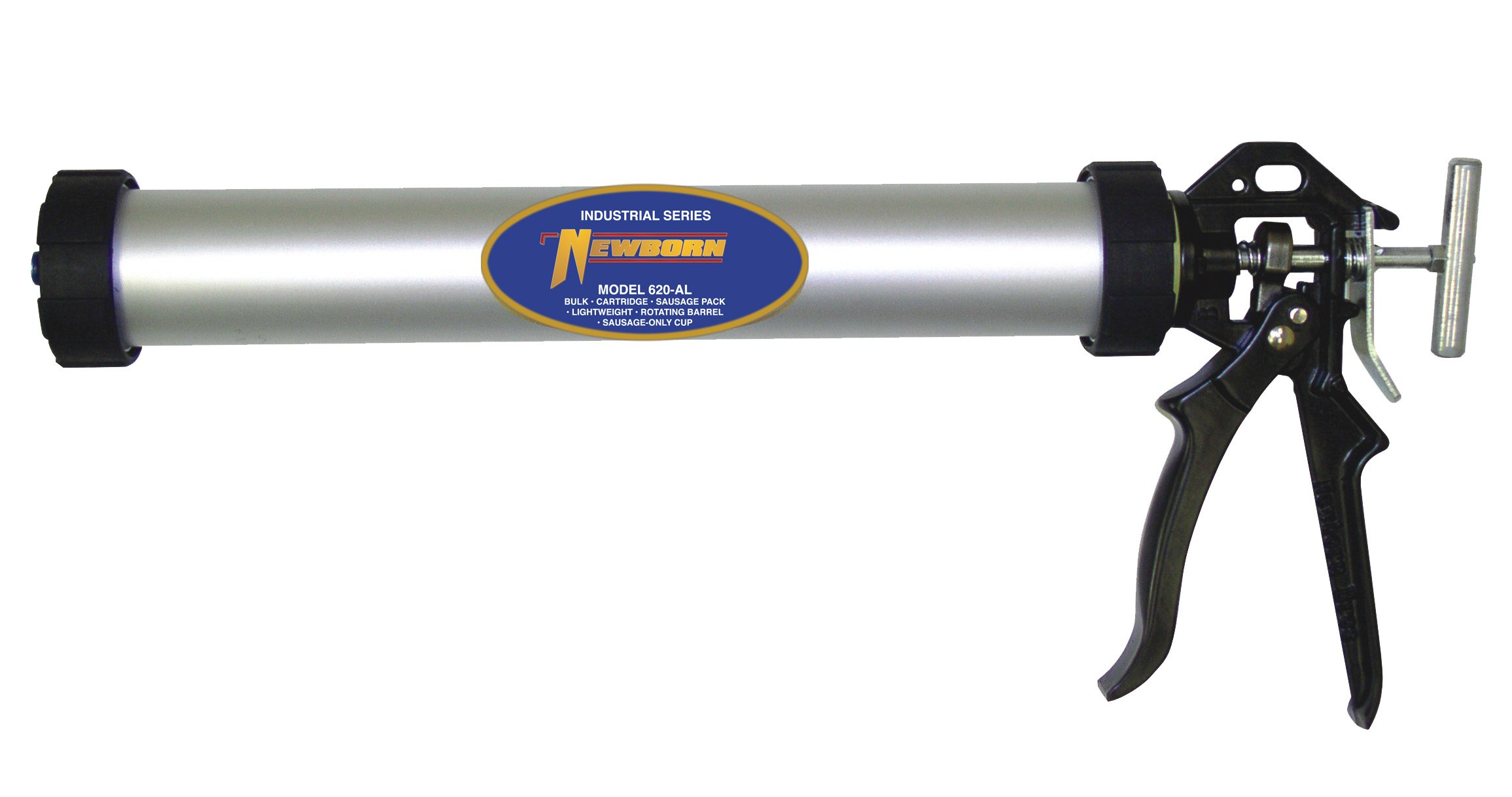 Newborn 634-AL Sausage/Bulk/Cartridge Smooth Rod Caulking Gun, 10-30 oz. Sausage Packs/34 oz. Bulk, 18:1 Thrust Ratio