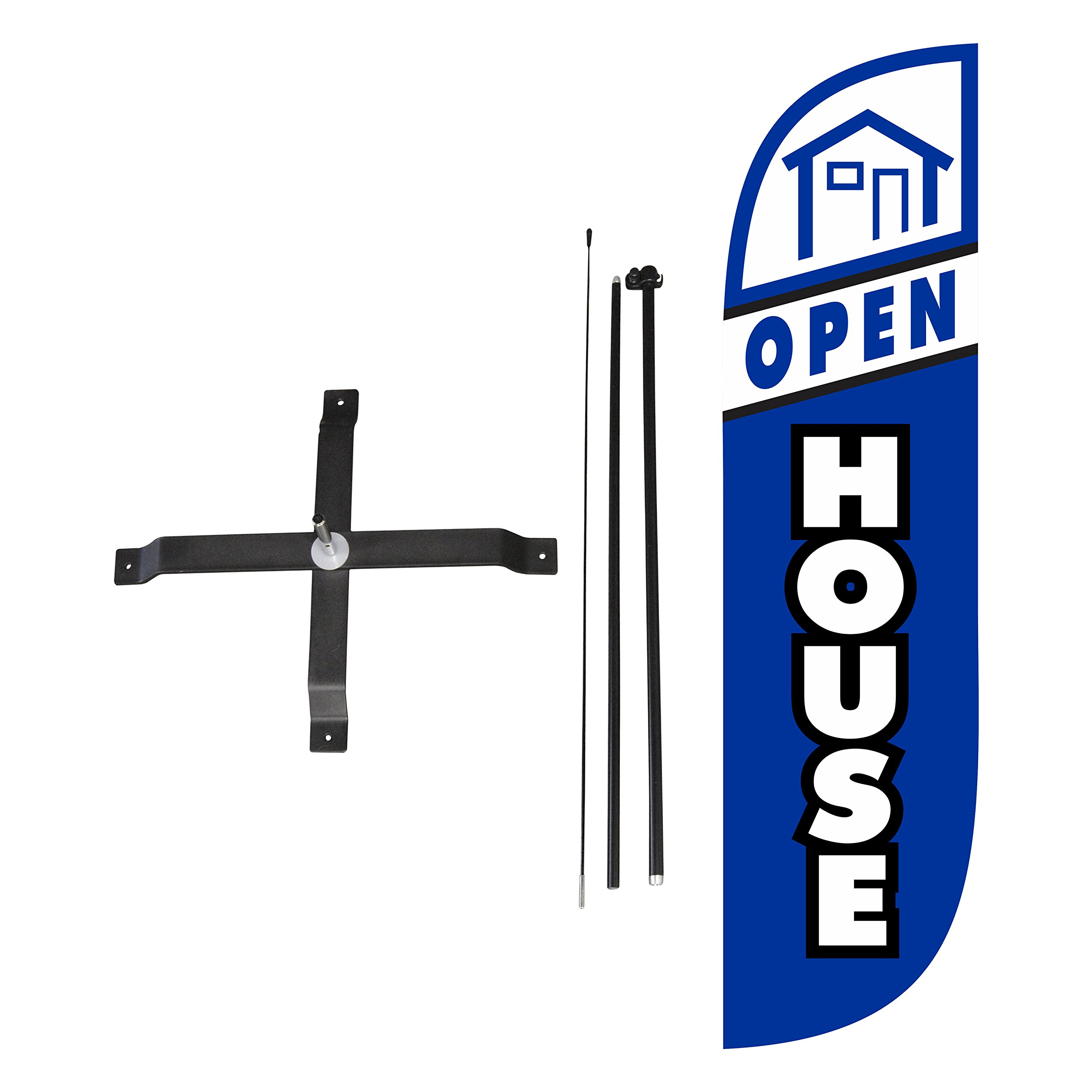 LookOurWay Open House Blue Feather Flag Complete Set with Poles & X-Stand, 5-Feet by LookOurWay