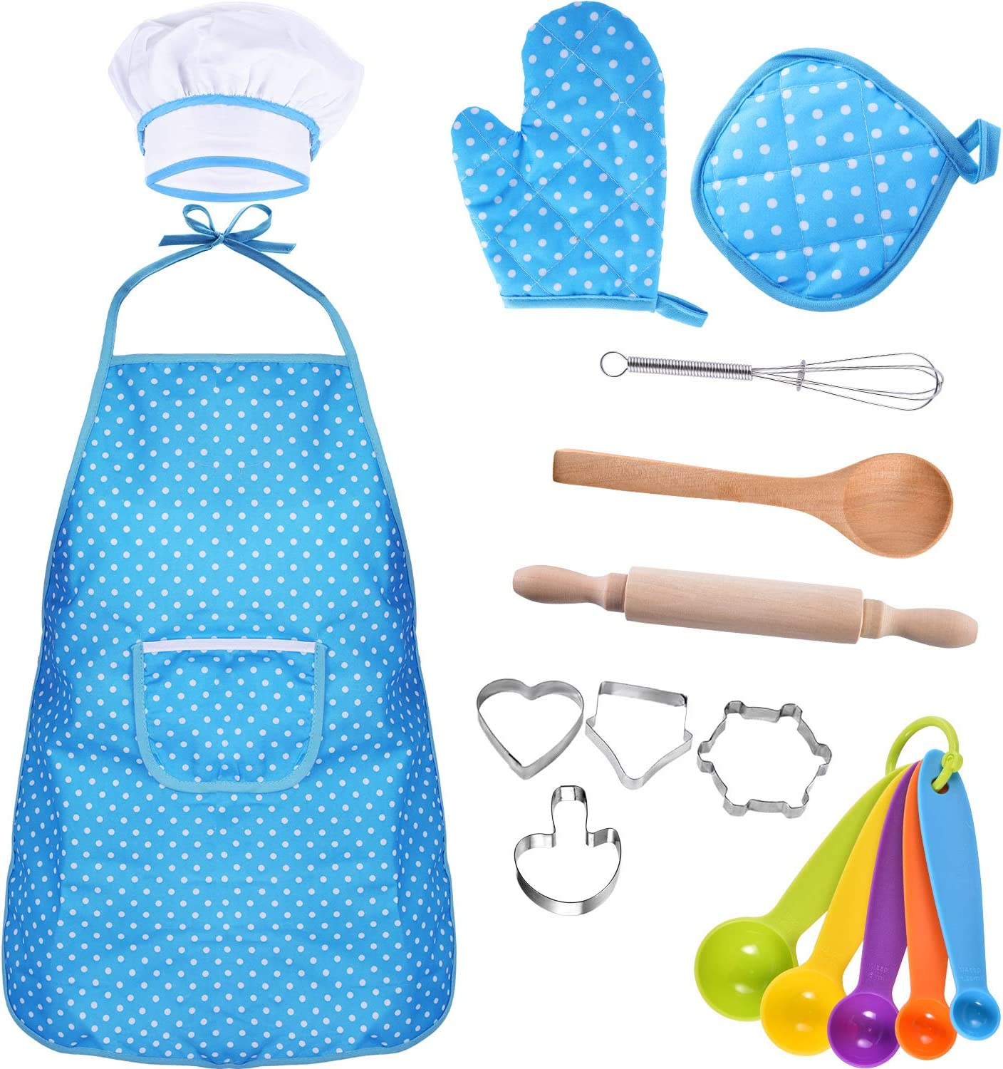 Bememo Kids Chef Set Children Cooking Play Kids Cook Costume with Utensils for Girls Childrens Day Gift Pink 16 Pieces