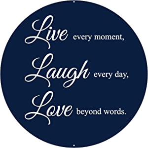 Live Love Laugh Wall Decor Sign - 12 x 12 Inches - Aluminum - Metal Wall Art - Home Living Room Farmhouse Kitchen Wall Decor Plaque - Teen Girl Room Decor - Aesthetic Inspirational Decorations Decal