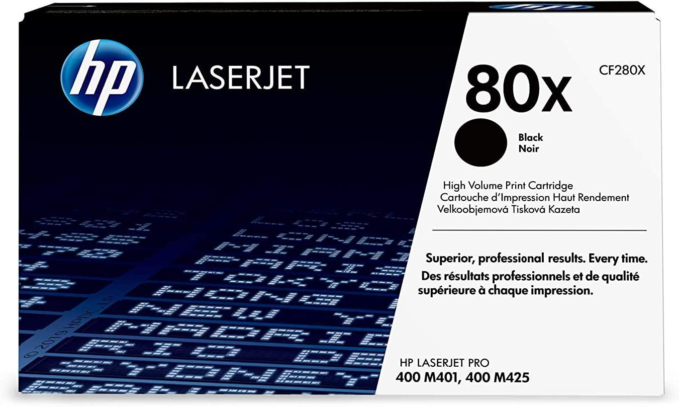 HP 80X (CF280X) Black High Yield Original Toner Cartridge for HP Laserjet Pro M401 M425 2Pack 6,900 Pages