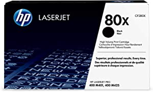 HP 80X (CF280X) Black High Yield Original Toner Cartridge for HP Laserjet Pro M401 M425 2Pack 6,900 Pages