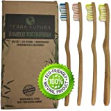 Eco Friendly Bamboo Toothbrush By TERRA FUTURA. NEW 2018 Ergonomic Design. Multicolor BPA free Wavy Bristles, All Natural Biodegradable and Environmentally Sustainable. Eco Toothbrush Family 4 Pack