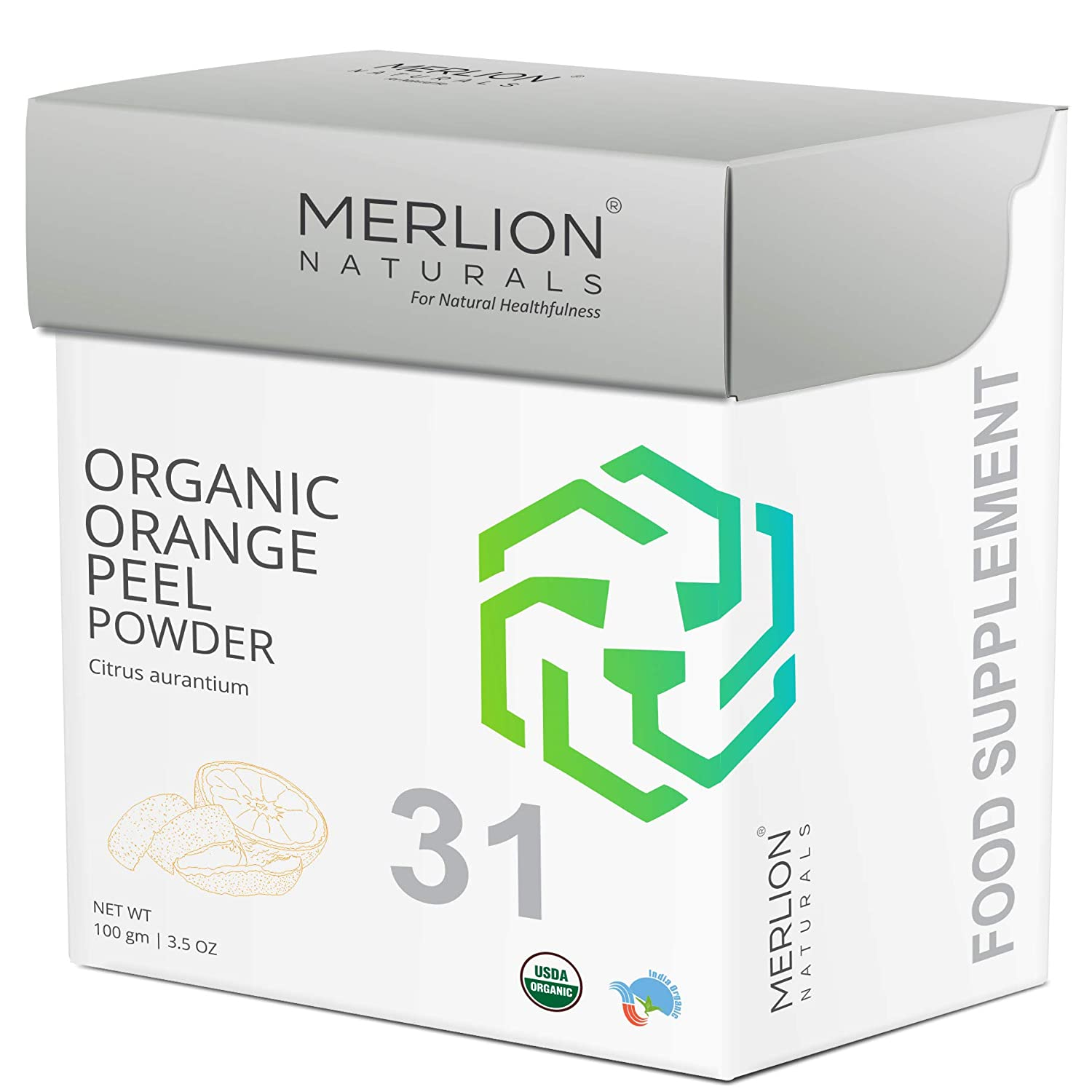 Organic Orange Peel Powder by Merlion Naturals | Citrus aurantium | USDS NOP Certified 100% Organic