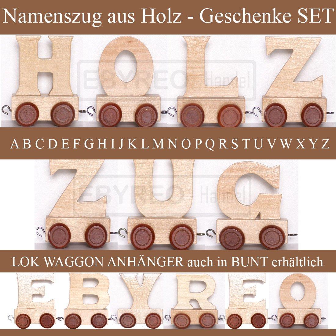 Taufgeschenk Geschenk zu Einschulung Buchstabenzug Namens-Set Lok Geschenk zur Geburt Alper personalisierbar Endwaggon Alper EbyReo/® Namenszug aus Holz