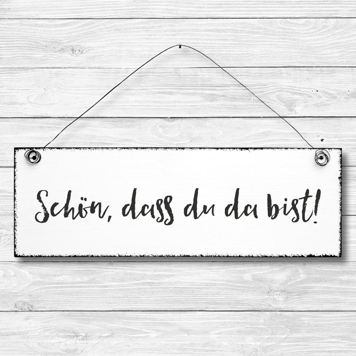 dass du da bist Holzbild Deko Schild Dekoschild T/ürschild Wandschild aus Holz 10x30cm Sch/ön