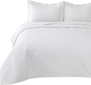 Bedsure Quilt Set White King Size (106x96 inches) - Flower Petal Design - Soft Microfiber Lightweight Coverlet Bedspread for All Season - 3 Pieces Reversible (Includes 1 Quilt, 2 Shams)