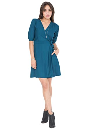 likemary V-Neck Teal Wrap Dress with 3/4 Sleeves S