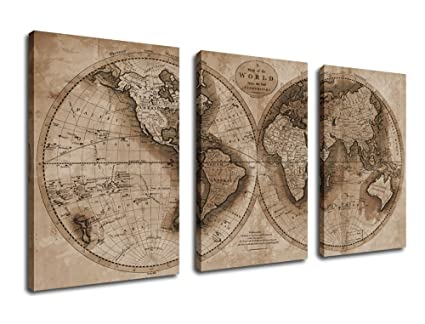 Amazon canvas prints wall art world map canvas painting 3 canvas prints wall art world map canvas painting 3 pieces framed large canvas art 30quot gumiabroncs Choice Image
