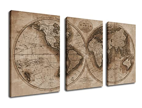 Amazon canvas prints wall art world map canvas painting 3 canvas prints wall art world map canvas painting 3 pieces framed large canvas art 30quot gumiabroncs Images