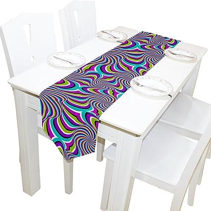 wxlife Zebra Pattern Rainbow Imprimir Camino de mesa mantel individual 13 x 70 pulgadas Poliéster para
