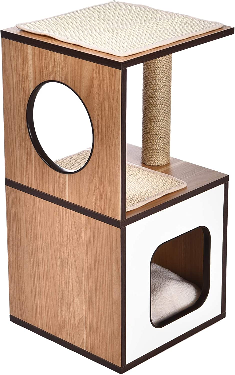 Basics Single Scratching Post Wooden Cat Tree Furniture - 15 x 15 x 28 Inches : Pet Supplies