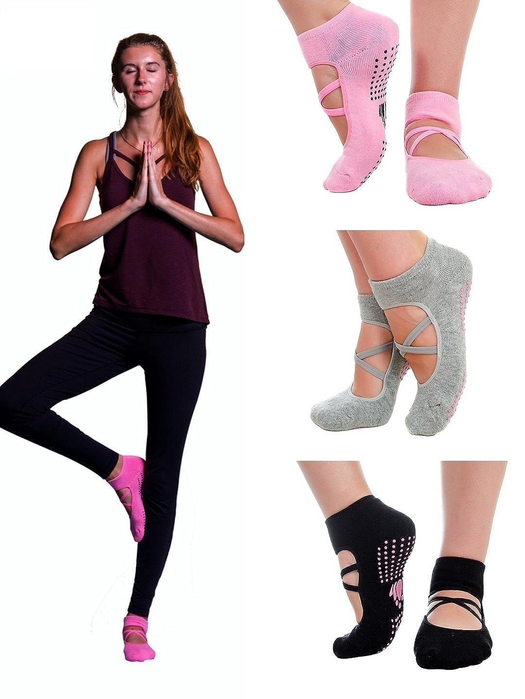 3 pairs Yoga Pilates Barre Ballet cotton non-slip grip sticky socks for women. Gift box with a bonus! LUCKAYA