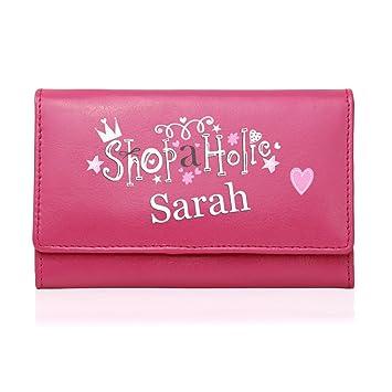 Damen Geldbörse Portemonnaie Leder Pink Personalisierbar