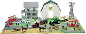 New-Ray Country Life Farm Playset with Barn & Farm House, Multi Color, 11 Inch W x 8.5 Inch W x 10 Inch H
