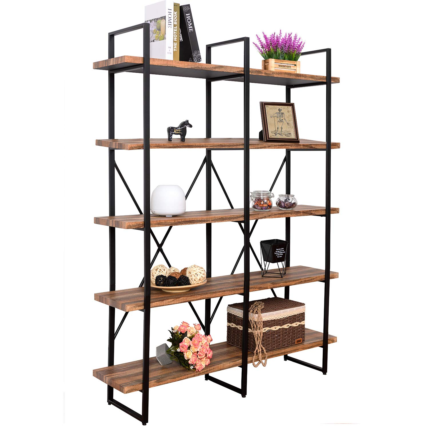 IRONCK Bookshelf, Double Wide 5-Tier Open Bookcase Vintage Industrial Large Shelves, Wood and Metal Etagere Bookshelves, for Home Decor Display, Office Furniture by IRONCK (Image #2)