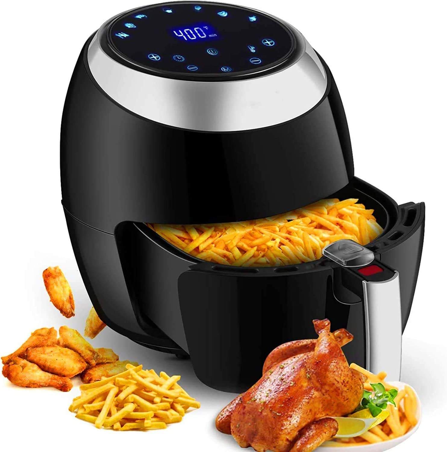 TOOLUCK Air Fryer, 6.8 Quart 1800W Electric Hot Oven Oilless Cooker with LCD Touch Digital Screen, Nonstick Basket
