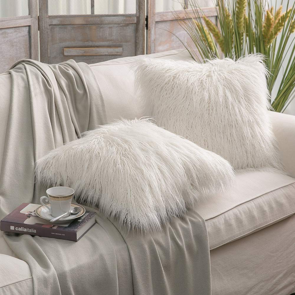 P B001 White Ynester Decorative Throw Pillow Cover Luxury Soft Faux Fur Fleece Pillow Case 18