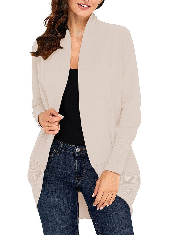 Apricot Futurino Women's Long Sleeve Open Front Lightweight Soft Knit Cardigans Sweaters
