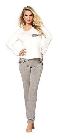 5b306e9dd0a171 Langer Damen Schlafanzug Pyjama aus Viskose Malwina (XS - 2XL) (XS, Grau
