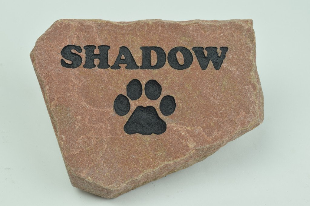 GraphicRocks Personalized Red Stone Pet Memorial Headstone Grave Marker Dog Cat