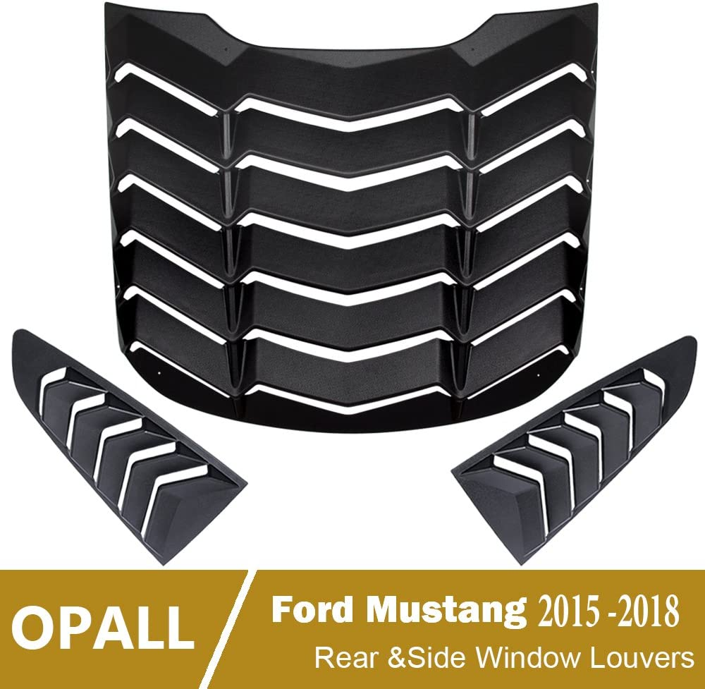 【Upgrade Version】Opall ABS Rear Window Louvers /& Quarter Side Window Scoop Louvers in Matte Black for 2015 2016 2017 2018 Ford Mustang