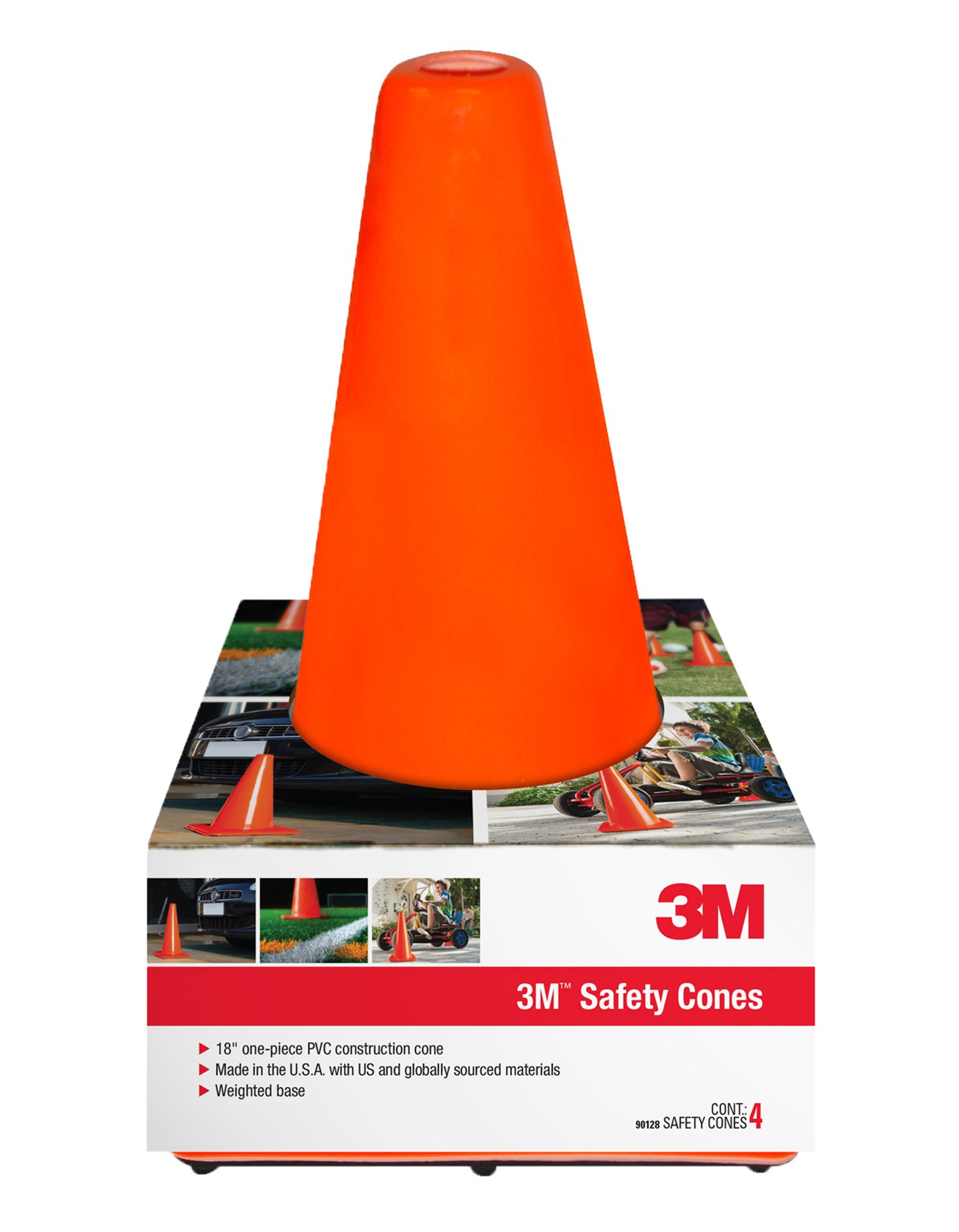 3M 90128-4PK, 18'' Professional Quality Non Reflective  Safety Cone, 4-Pack