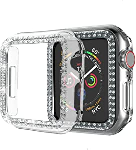 wootfairy Compatible with Apple Watch Case 38mm 42mm Double Row Diamond PC Plating Bling Crystal Diamonds Shiny Glitter Cover Frame Compatible iWatch Series 1/2/3 for Women Girls Clear, 38mm