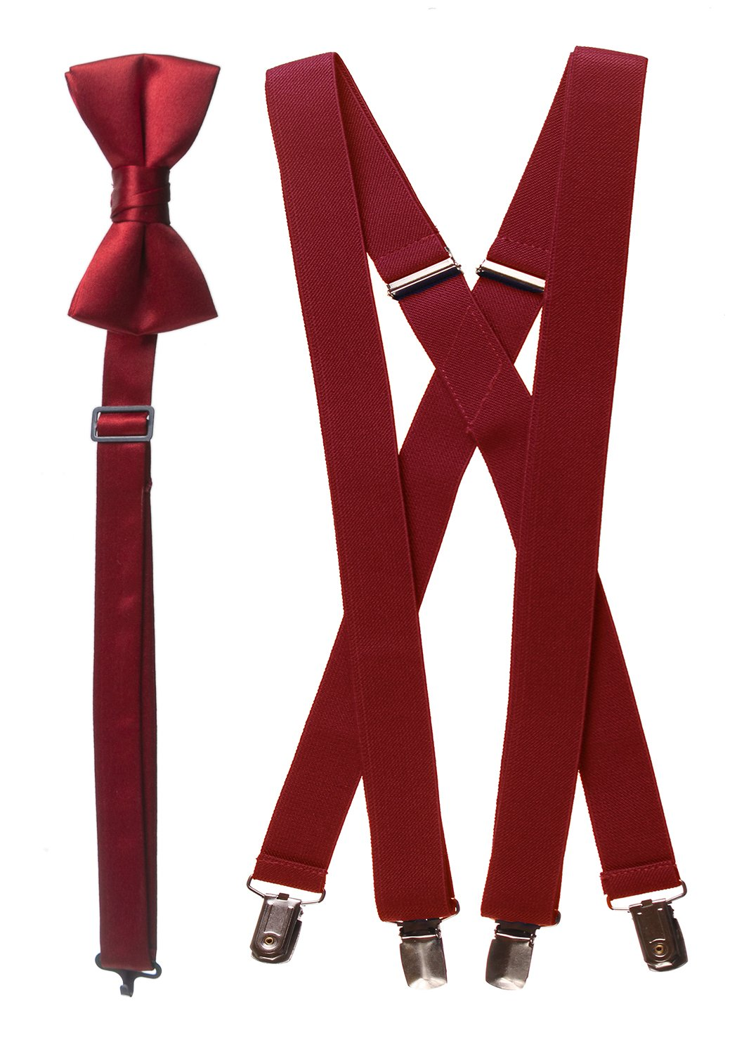 Bow Tie and Suspender Set Combo in Men's & Kids Sizes (30'' Boys, Apple Red)