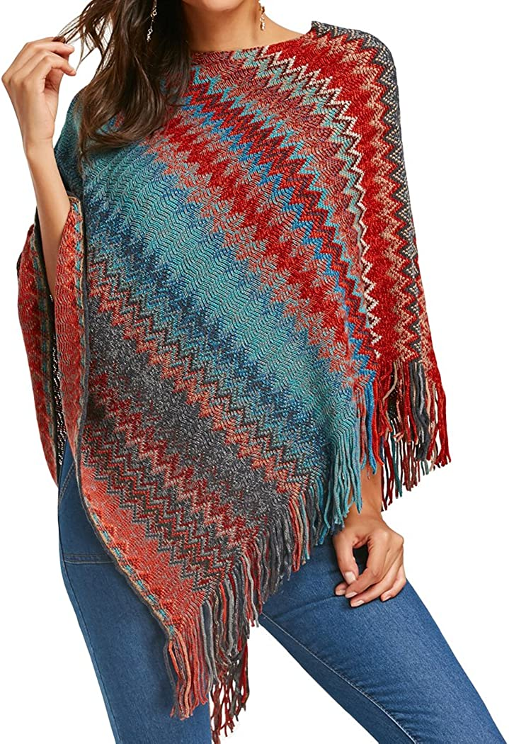 XWDA Knitted Poncho Women...