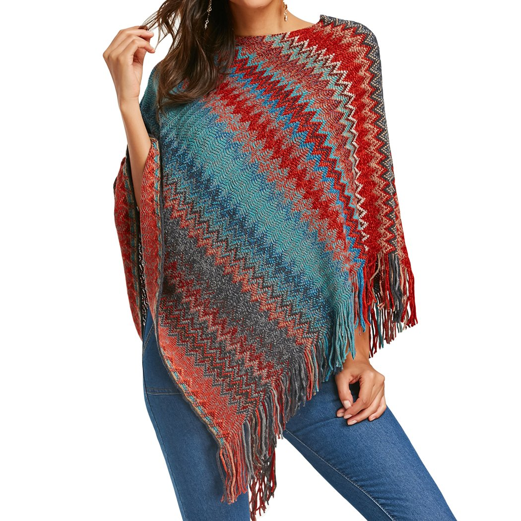 XWDA Knitted Poncho Women Zigzag Tassel Shawls Colorful Irregular Cloak 1310
