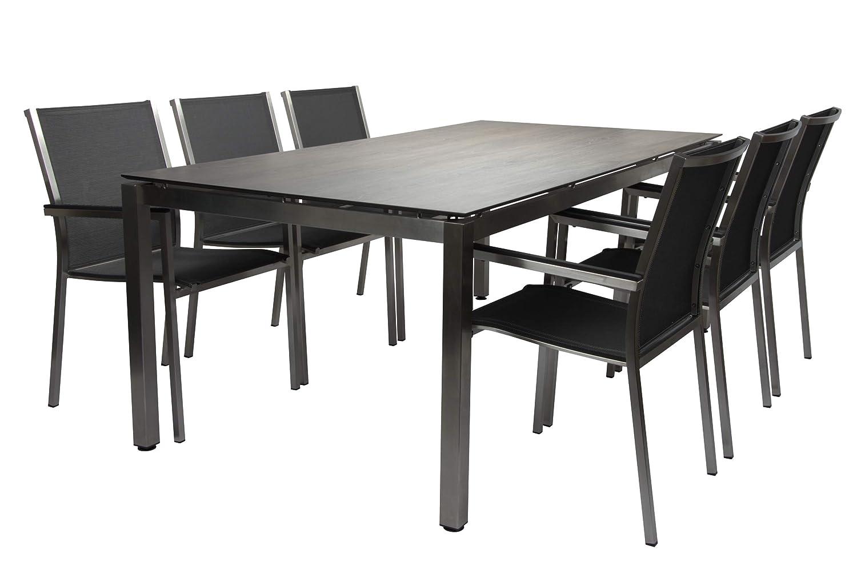 STERN Polaris Esstischgarnitur, Silbergrau/schwarz, Edelstahl/Textil, 200 x 100 cm, 6 Pers, Silverstar 2.0
