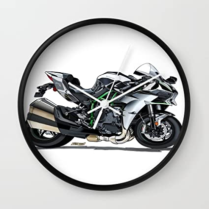 Society6 la Supercharged Kawasaki Ninja H2 Hypersport bicicleta reloj de pared