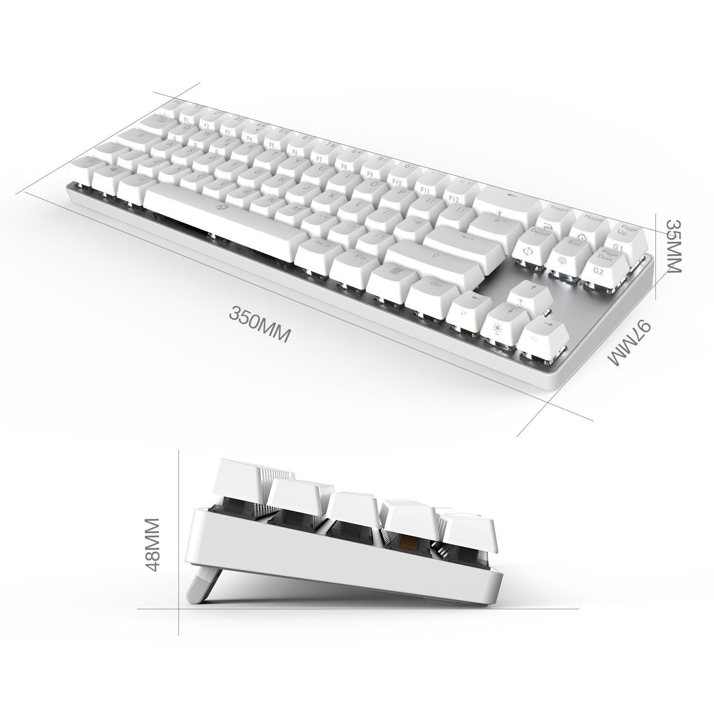 UK Layout Switch Rojo, Negro DREVO Calibur 72 clave de juego mec/ánico teclado RGB LED retroiluminada Tenkeyless inal/ámbrico Bluetooth 4.0