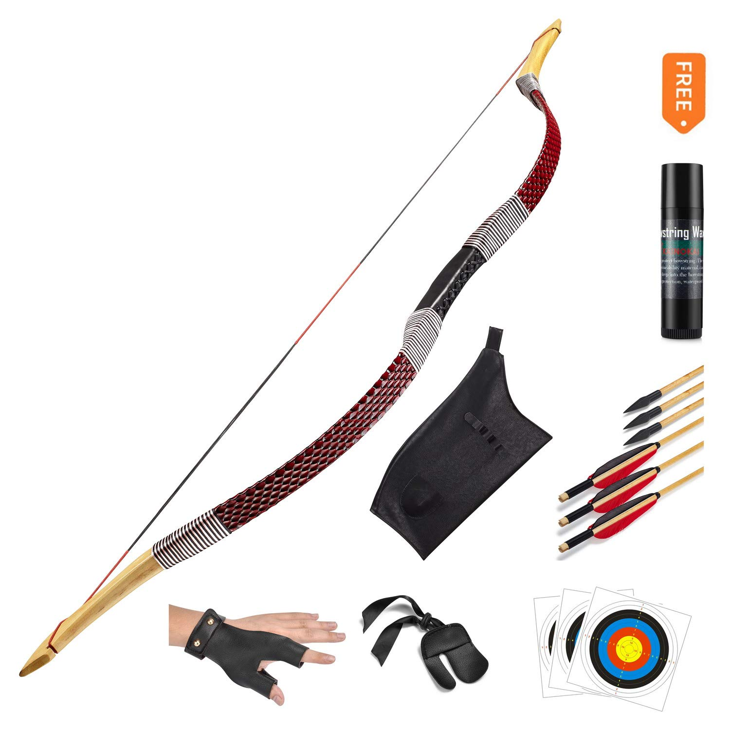 KAINOKAI Traditional Handmade Longbow Horsebow Hunting Recurve Archery Bow Recurve Bow Set (Red Dragon, 25.0 Pounds)